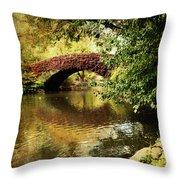 Central Park In Autumn Texture 6 Throw Pillow