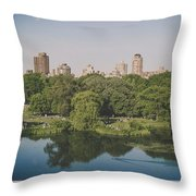Central Park In Summer Throw Pillow