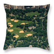 Central Park North Meadow In New York City Aerial View Throw Pillow