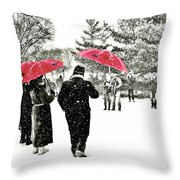 Central Park Snow And Red Umbrellas Throw Pillow