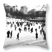 Central Park Winter Carnival Throw Pillow