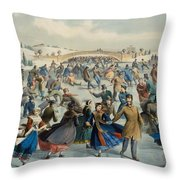 Central Park, Winter The Skating Pond, 1862 Throw Pillow