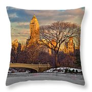 Central Parks Famous Bow Bridge Throw Pillow