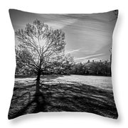 Central Park's Sheep Meadow - Bw Throw Pillow