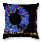 Central Pier Blackpool Throw Pillow