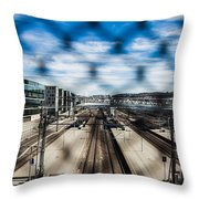 Central Train Station In Oslo Throw Pillow