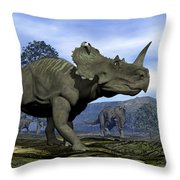 Centrosaurus Dinosaurs - 3d Render Throw Pillow