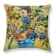 Ceramic Blue Throw Pillow