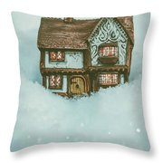Ceramic Cottage In Snow Throw Pillow