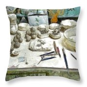 Ceramic Objects And Brushes On The Table Throw Pillow