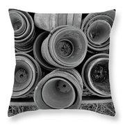 Ceramic Pots Bw Throw Pillow