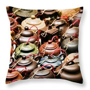 Ceramic Teapots Throw Pillow