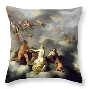 Ceres Bacchus Venus And Cupid  Throw Pillow