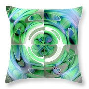 Cerulean Blue And Jade Abstract Collage Throw Pillow