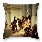 Cesare Borgia Leaving The Vatican Throw Pillow by Giuseppe Lorenzo Gatteri
