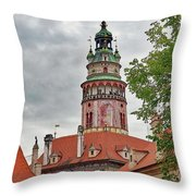 Cesky Krumlov Castle Tower In Cesky Krumlov Of The Czech Republic Throw Pillow