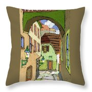 Cesky Krumlov Masna Street Throw Pillow