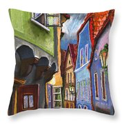 Cesky Krumlov Old Street 1 Throw Pillow