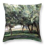 Cezanne: Le Clos Normand Throw Pillow