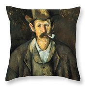 Cezanne: Pipe Smoker, C1892 Throw Pillow