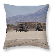Ch-47 Chinook Helicopters On The Flight Throw Pillow