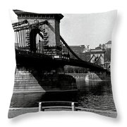 Chain Bridge Of Budapest In 1990 Throw Pillow
