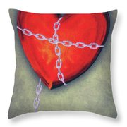 Chained Heart Throw Pillow by Jeff Kolker