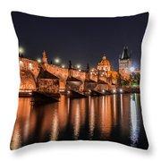 Chains Bridge In Prague Throw Pillow