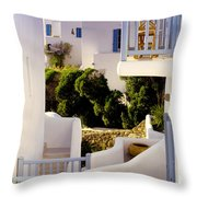 Chair On Balcony In Mykonos Throw Pillow