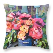 Chair With Flowers Throw Pillow