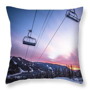 Chairlift Sunset Throw Pillow