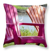 Chairs And Egret Throw Pillow