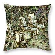 Chairs In Backyard Throw Pillow