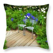 Chairs In The Garden Throw Pillow