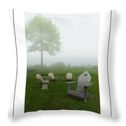 Chairs In The Mist Poster Throw Pillow
