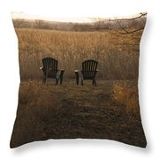 Chairs Overlook A Scenic Pasture Throw Pillow