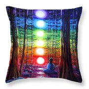Chakra Meditation In The Redwoods Throw Pillow