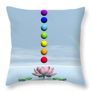 Chakras And Rainbow - 3d Render Throw Pillow