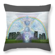 Chalice Over Stonehenge In Flower Of Life Throw Pillow