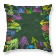 Chalk Drawing Colorful Arrows Throw Pillow