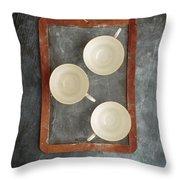 Challkboard Tea Cups Throw Pillow