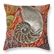 Chambered Nautilus Shell Abstract Throw Pillow