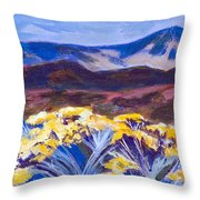Chamisa And Mountains Of Santa Fe Throw Pillow