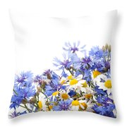 Chamomile And Cornflower Mix Throw Pillow