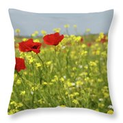 Chamomile And Poppy Flowers Meadow Throw Pillow
