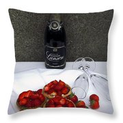 Champagne Bottle With Strawberry Tarts And 2 Glasses Throw Pillow