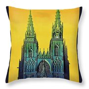 Champagne, Reims, Cathedral, France Throw Pillow
