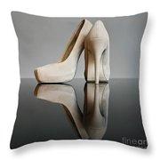Champagne Stiletto Shoes Throw Pillow