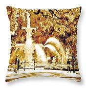 Champagne Twilight Forsyth Park Fountain In Savannah Georgia Usa  Throw Pillow