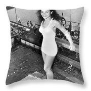 Champion Diver Vicki Draves Throw Pillow